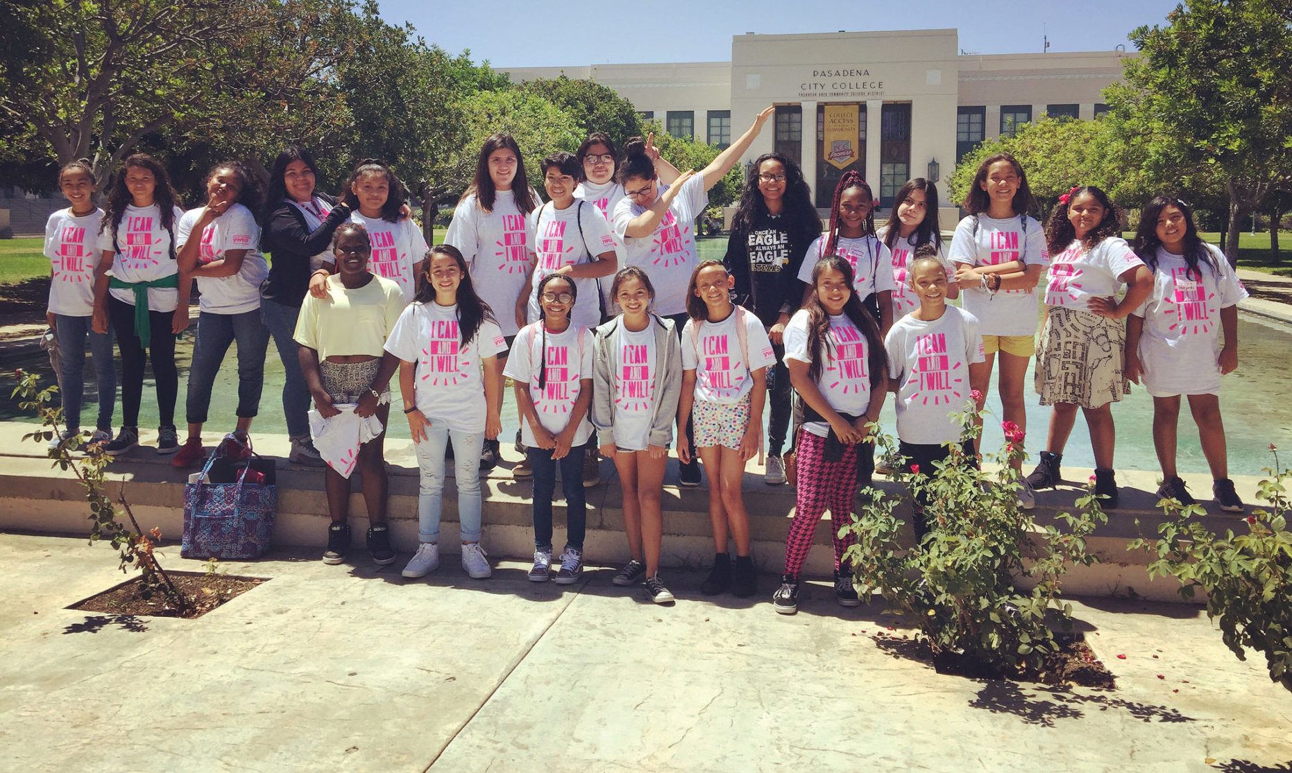 Group of Girls from Girls Rise Leadership Camp in front of Pasadena City College