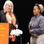 Jessica Kubel Presents Racial Justice award to Jasmine Richards